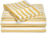 Impressions® Cabana Stripe Wrinkle Resistant Cotton Blend 600 Thread Count 3-Piece Twin Sheet Set, Mustard