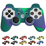 Skque® Silicone Soft Case Cover for Sony PlayStation 3 Controller, Purple & Green