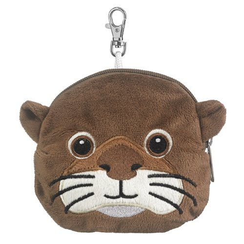 Sea Otter Stuffed Animal Plush Pouch Purse Animal Case Clip on Bag Animal Zipper Pouch Wallet Bag