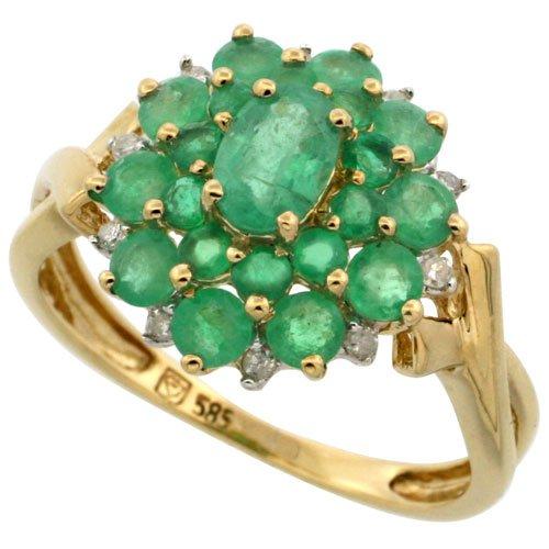 14k Gold Cluster Ring, w/ 2.00 Total Carats Brilliant & Oval Cut Emerald Stones, & Brilliant Cut Diamonds, 9/16 in. (15mm) wide