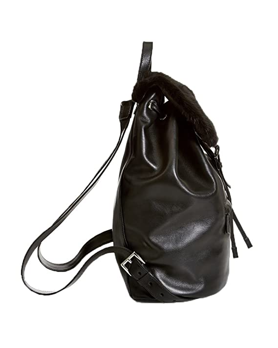 Amazon.com: Prada Soft Calf Leather \u0026amp; Mink Fur Backpack, Nero ...