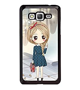 Fuson Premium 2D Back Case Cover Cute office Girl With Blue Background Degined For Samsung Galaxy Grand Prime G530h