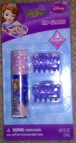 Disney Sofia The 1st Lip Gloss Grape Flavor and 2 Hair Clips by Disney
