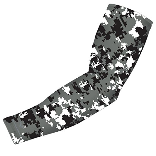 Moisture Wicking Sports Compression Arm Sleeve - Youth & Adult Sizes - Baseball Football Basketball (Black-Gray-White Digital Camo)