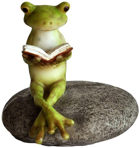 Top Collection Miniature Fairy Garden and Terrarium Frog Reading on Stone Statue (Miniature Resin Frog compare prices)