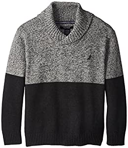 Nautica Big Boys' Long Sleeve Marl Color Block Sweater, Dark Gray Heather, X-Large