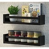 Set of 2 Muti-use Wood Kitchen Wall Shelf Black Spice Rack