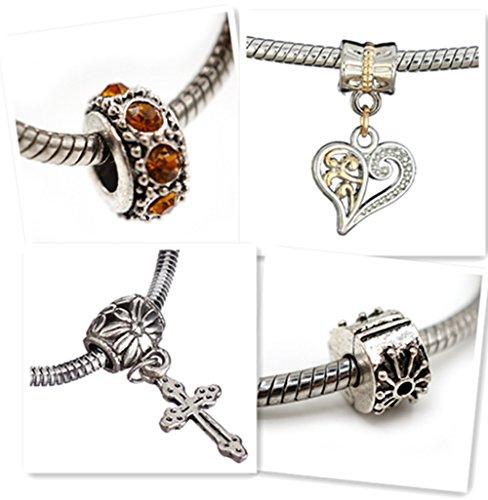 Starter Charm Bracelet: Cat Eye Jewels Stainless Steel Snake Chain