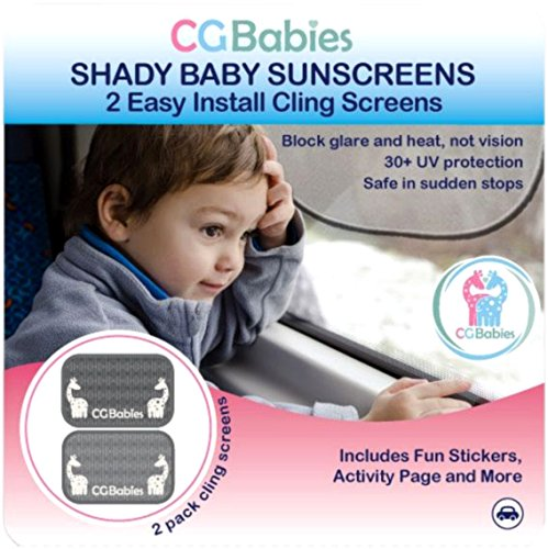Super Sale - Best Car Sun Shade - Protect Your Child From Glare - 30+ UPF Protection - Plus Bonus Kids Ebook - Shady Baby Top Quality Sun Screens Cling to Car Windows - Rear Window Sunscreen System - Set of 2 - Easy to Position or Remove - and Cg Babies 100% Risk Free Money Back Guarantee