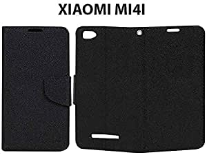 Synthetic Leather Finished Flip Case Cover For XIAOMI Mi 4i-Polish Black