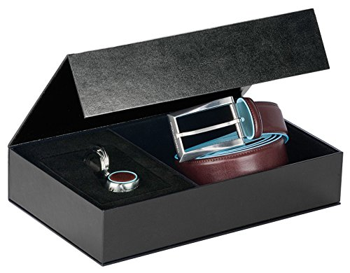 Cofanetto regalo con portachiavi 2 anelle PC1757B2 e cintura con fibbia ad ardiglione CU1521B2 Blue Square CUBOX01B2/MO