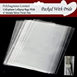 "PACK OF 100 - 4""x 6"" CLEAR CELLOPHANE LOLLIPOP BAGS / CAKE POPS / SWEETS 4"" SILVER TWIST TIES"