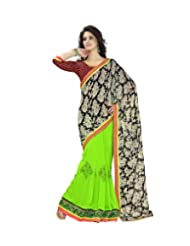 Triveni Vibrant Colored Sleek Border Festive Saree 77005b