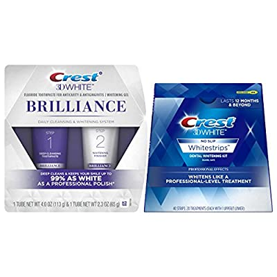 Crest 3D White Brilliance Daily Cleansing Toothpaste and Whitening Gel System, 2.3 oz & Crest 3D White Luxe Whitestrips Professional Effects - Teeth Whitening Kit 20 Treatments Bundle