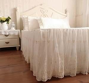 ベッドスカート 優雅なシフォンレースフリルベッドスカート (セミダブル)