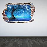 60 Second Makeover Limited Full Colour Mystical Fairy Tree Smashed Wall 3D Effect Under The Sea Aquarium Ocean Bedroom Wall Sticker Decal Kids Bedroom Decoration Large