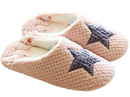 Minetom-Mujer-Zapatillas-Calientes-Otoo-Invierno-Pantuflas-De-Interior-Suave-Zapatilla-De-Estar-Por-Casa