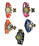 Felizer Vintage Multi Strap Fancy Butterfly Bracelet Watch for Women & Girls (Red, Orange, Black, Blue & Pink) - (Pack of 5)