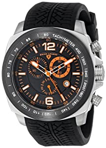 """Swiss Legend Men's """"Sprinter"""" Stainless Steel and Black Ion Plating Black Silicone Watch"""