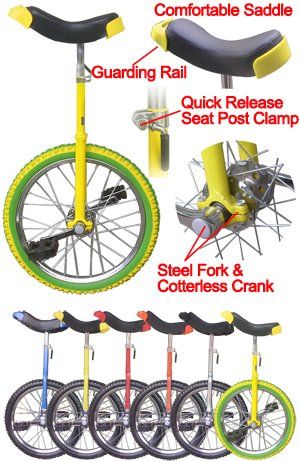 18 Inch Unicycle Wheel Frame Lemon