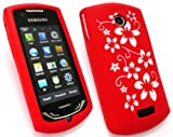 EMARTBUY SAMSUNG S5620 MONTE SILICON CASE/COVER/SKIN FLORAL RED