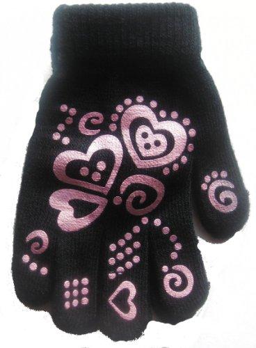 Girls Warm Winter Gripper Magic Gloves - One Size - Black - Great Christmas Gift Idea