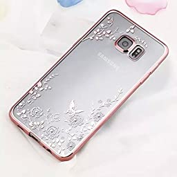 Samsung Galaxy S7 Edge Case,Inspirationc® [Secret Garden] Rose Gold and White TPU Plating Clear Shiny Cover Series for Samsung Galaxy S7 Edge--Swarovski