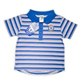 Chelsea Football Club Polo Top with Horizontal Stripes and Club Badge (Reflex Blue/White, 9 to 12 Months)