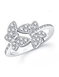 Meenaz Butterfly Ring Fancy Party Wear Funky Ring For Girls & Women In Silver Ring American Diamond Cz FR305