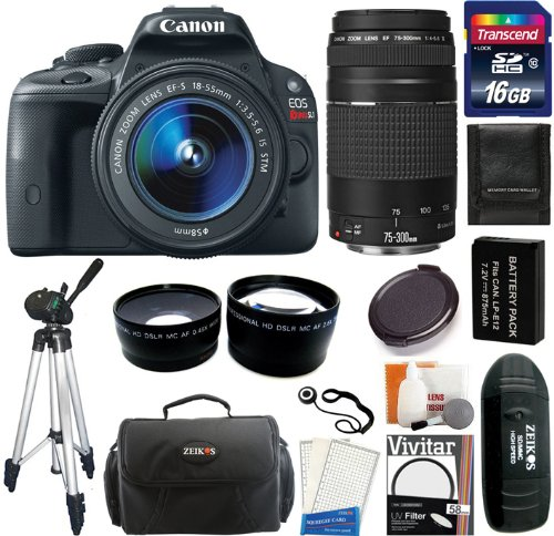 Canon Eos Rebel Sl1 Digital Slr Camera & Ef-S 18-55Mm Is Stm Lens With Ef 75-300Mm Iii Lens + 16Gb Card And Reader + Battery + Case + Filters + Tripod + Telephoto & Wide Angle Lens + Accessory Kit
