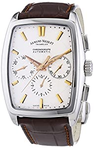 Armand Nicolet 9634A-AS-P968MR3 Men's Automatic Watch with Silver Dial Analogue Display and Brown Leather Strap