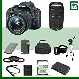 Canon EOS Rebel SL1 Digital SLR Camera Kit with 18-55mm STM Lens and Canon EF 75-300mm III Lens + 16GB Green\'s Camera Package