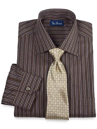 Paul Fredrick Men's 2-ply Cotton Satin Stripe English Spread Collar Dress Shirt Multi 20.0/37