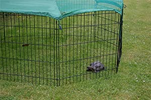 VivaPet Outdoor Octagon Rabbit Run Cage Pen with Sun Protection Net Cover, 55-inch, Black/ Silver