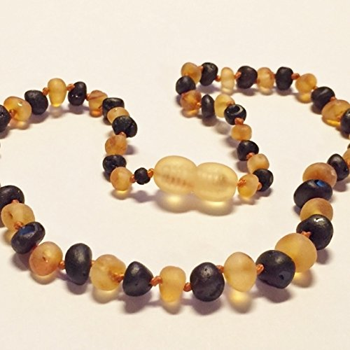 "Genuine Raw Unpolished Honey Cherry Two Toned Colored Baltic Amber Baby Teething Necklace by Nature's Calm(TM) 12"" *Safety Knotted*Screw Closure*"