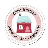 24 individuelle Adressaufkleber - Motiv rotes Haus - Etiketten Sticker