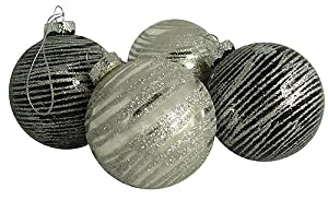 Pack of 4 Black & Silver Glitter Stripe Glass Ball Christmas Ornaments 2.5""