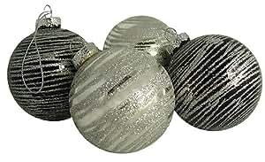 "Pack of 4 Black & Silver Glitter Stripe Glass Ball Christmas Ornaments 2.5"""
