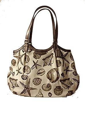 Coach Signature Stripe Shell Print Canvas Shoulder Bag