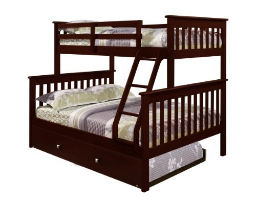 Popular Bunk Bed Twin over Full Mission Style in Cappuccino with Trundle