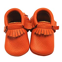Mejale Baby Soft Soled Leather Moccasin Tassels Slip-on Infant Toddler Shoes Pre-walker(orange,18-24 months)