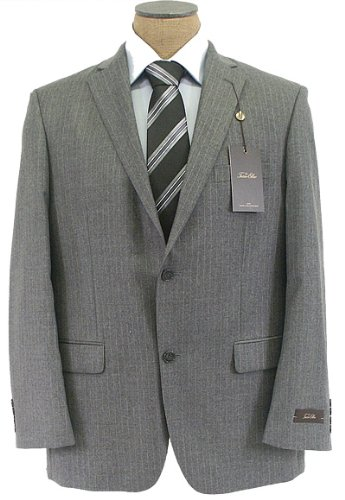Tasso Elba Mens 2 Button Pleated Gray Pinstripe Wool Cashmere Suit