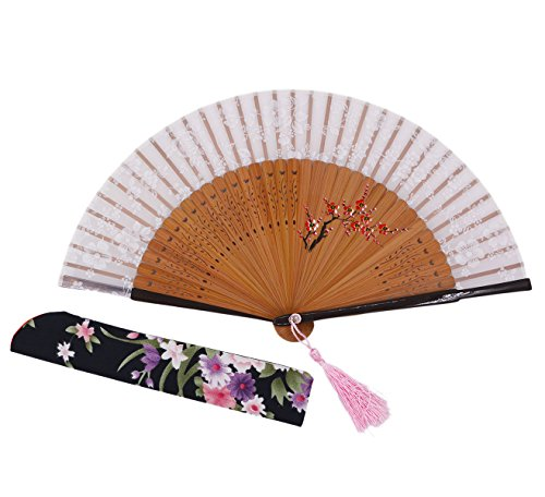 Amajiji Charming Elegant Modern Woman Handmade Bamboo Silk Folding Pocket Purse Hand Fan.Chinese /Japanese Vintage Retro Style JNSZ(20cm) (008)