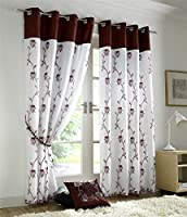 """BURGUNDY RED WHIITE FLORAL ROSE 58X54"""" (147x137CM) FULLY LINED RING TOP VOILE CURTAIN DRAPES from Curtains"""