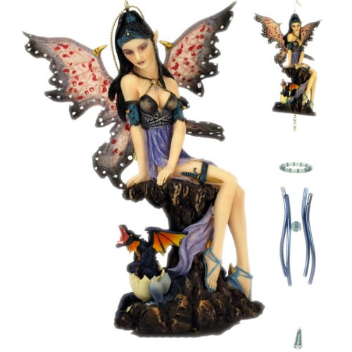 Fairy Sitting on Pedestal with Dragon Windchime
