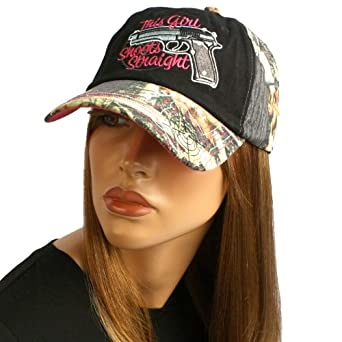 Ladies Camo Crystal This Girl Shoots Straight Adjustable Ball Cap Hat 57cm Black