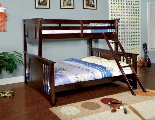 Furniture of America Steven Bunk Bed, Twin Over Queen, Dark Walnut