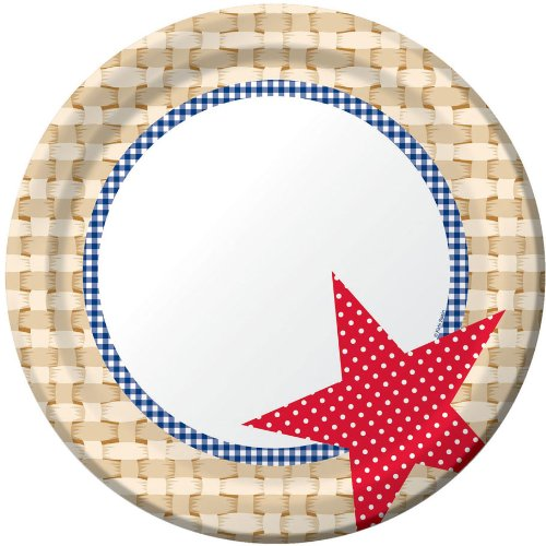 Creative Converting 8 Count Paper Banquet Plates, Picnic Basket