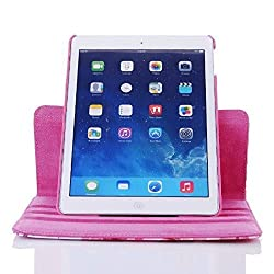 Multi Color Designer 360 Degree Rotating Smart Flip book Case for iPad 2/3/4 Pink.