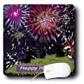 3dRose LLC 8 x 8 x 0.25 Inches Mouse Pad, Three Black Cat Watching Fireworks Red (mp_18878_1)